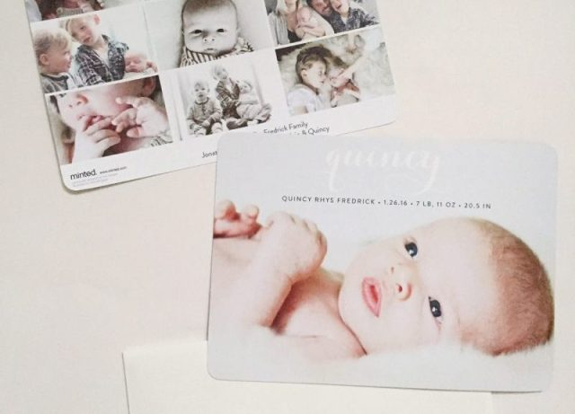 Quincy's Birth Announcement + A Minted Giveaway