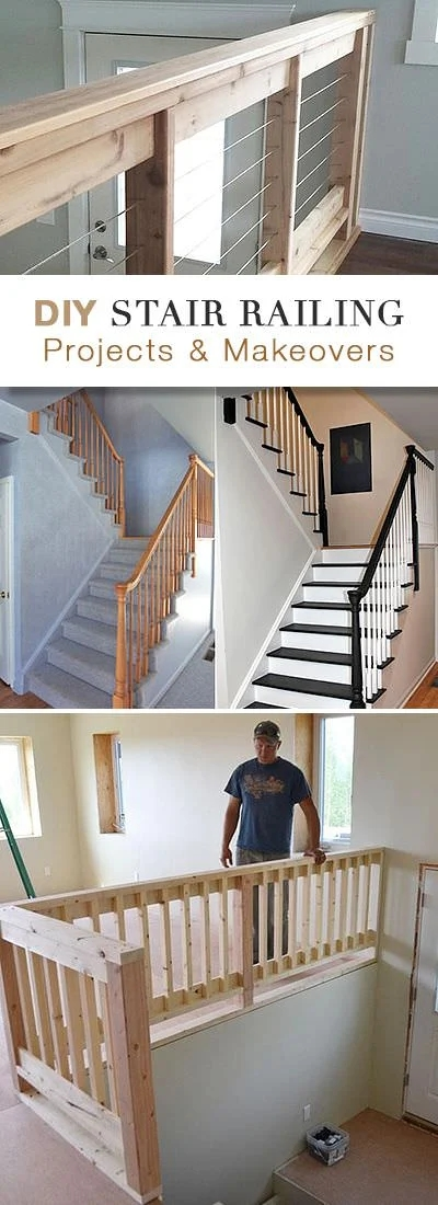 Diy Stair Railing Ideas Makeovers • Ohmeohmy Blog | Interior Stairs And Railings | Traditional | Living Room | Crystal | Rectangular Tube | Inside