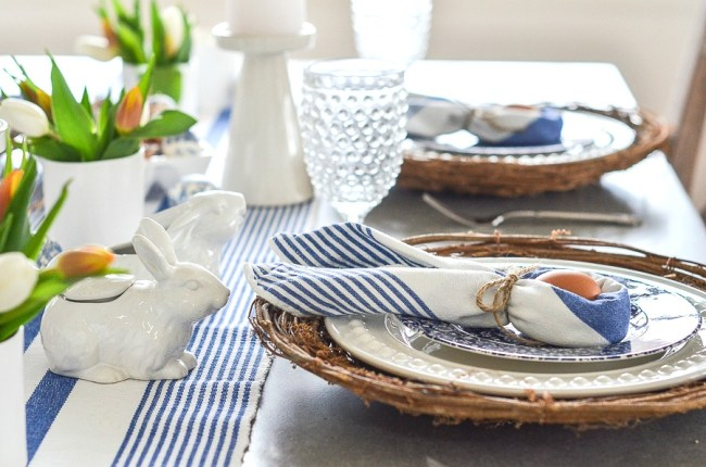 Blue and white themed Easter Table with Easter bunny shaped napkins