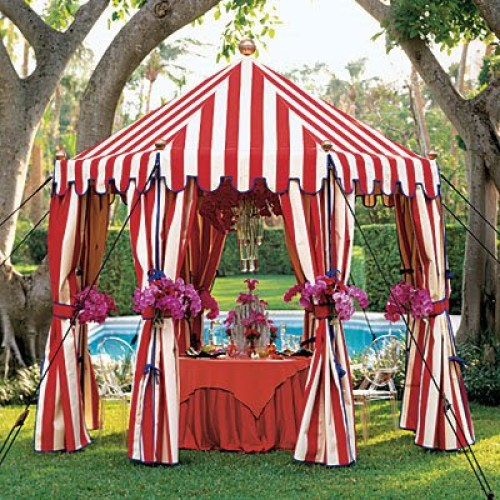 Red and white stripe carnival tent