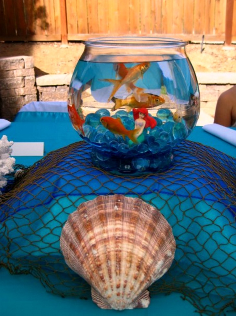 Create a splash with this Under The Sea Party Birthday Party Ocean Party! Including Fish bowl centerpieces, starfish cupcakes, tablescape, cake and Under the Sea Party Invitations! A great Under the Sea Birthday Party Ideas for kids and teens!