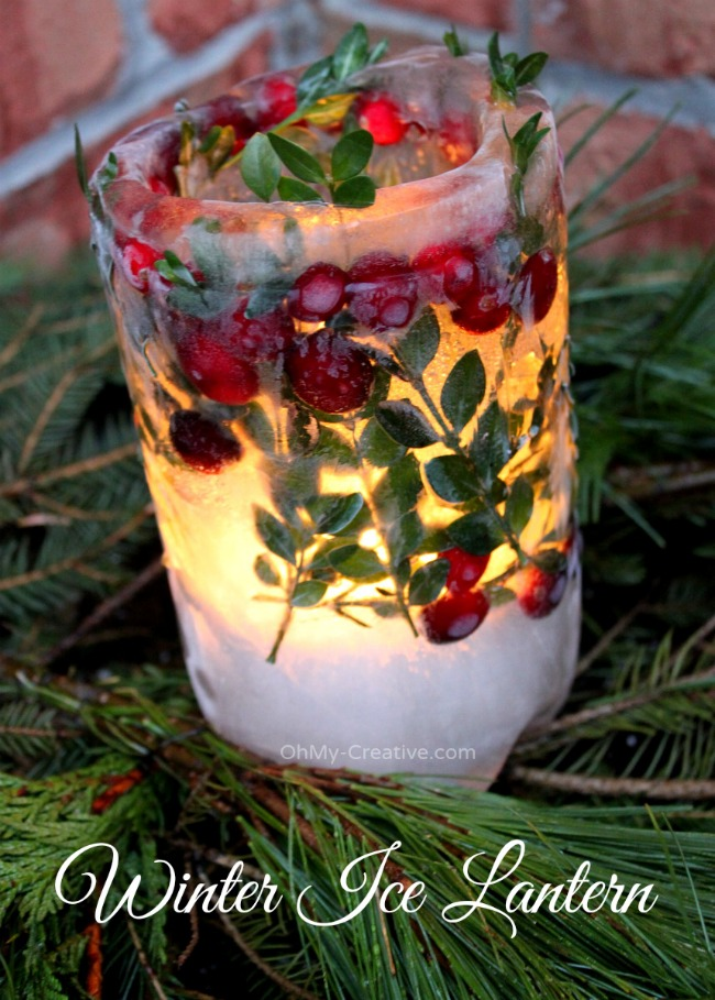 How to make a beautiful Winter Ice Lantern | OHMY-CREATIVE.COM