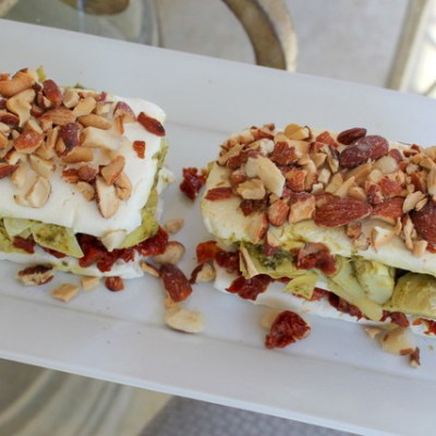Layered Sundried Tomato and Artichoke Appetizer