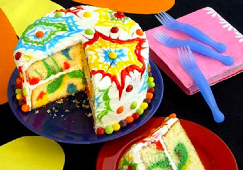 Tye Dye Cake - Fun to make even if you're not having a 70's party. Great for a circus, rainbow or any brightly colored kids party!