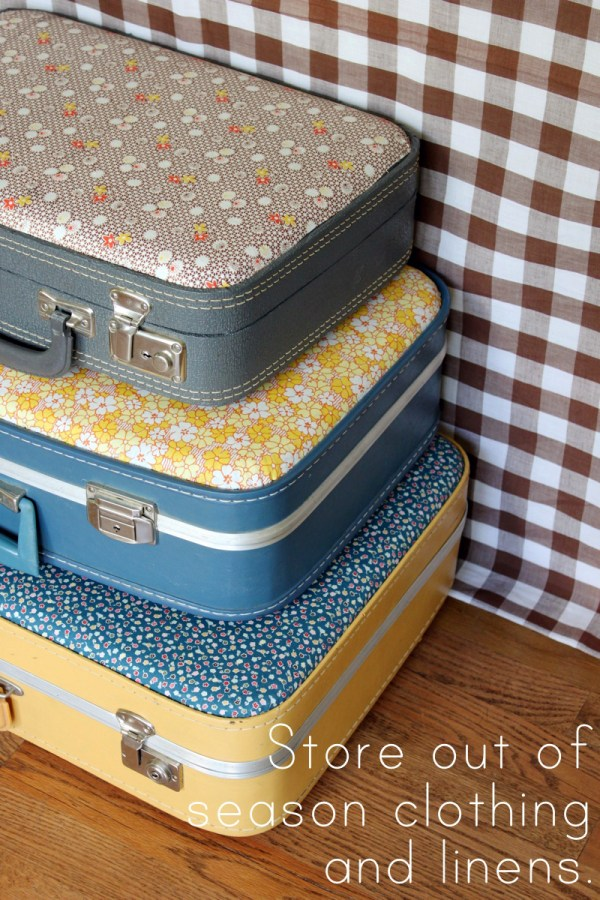 Fabric Covered Vintage Suitcases included in these 20 DIY Vintage Suitcase Projects and Repurposed Suitcases. Create unique home decor using repurposed old suitcases! | OHMY-CREATIVE.COM