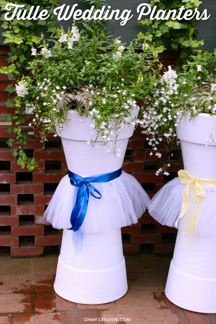 Tulle DIY Wedding Flower Pots & Tulle DIY Wedding Flower Pots - Oh My Creative