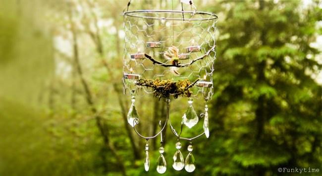 Chicken Wire basket outdoor crystal chandelier