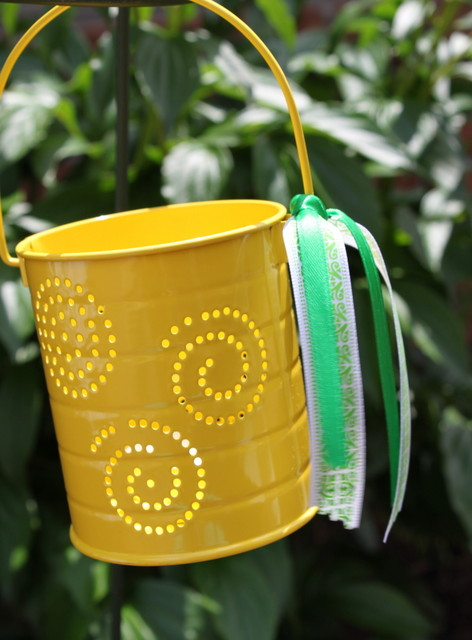 Yellow outdoor candle lanterns