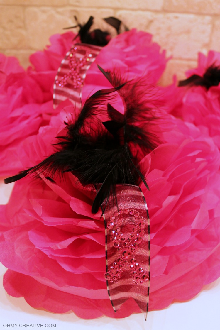 DIY Breast Cancer Awareness Tissue Paper Hats for Breast Cancer Awareness Month - perfect for a fundraising event, walk for a cure or to show support! Think Pink | OHMY-CREATIVE.COM