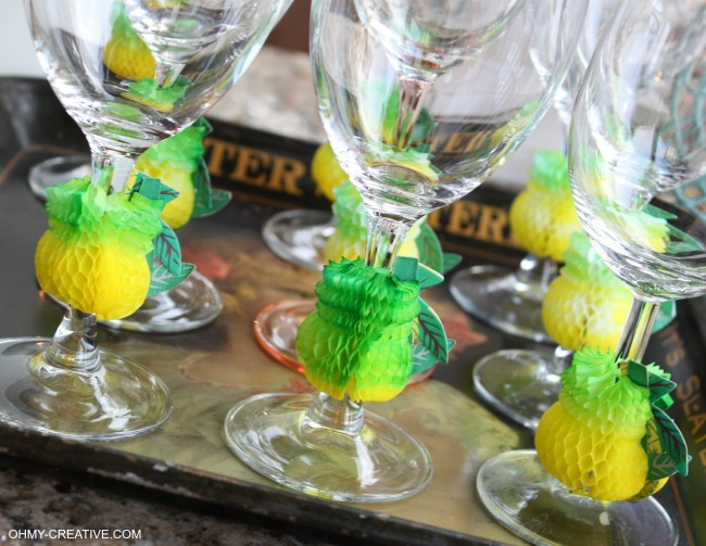 These Summer Party Glasses are super easy to make and great for a luau or pool party   OHMY-CREATIVE.COM