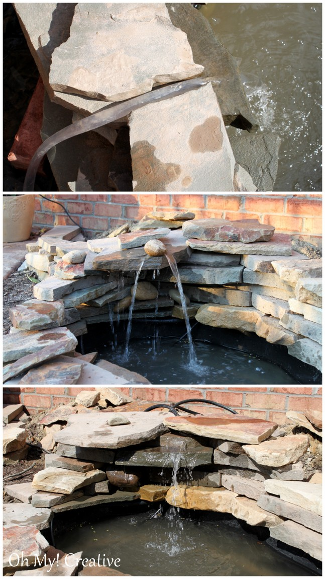 How to build a beautiful back yard pond and water feature cheaply! | OHMY-CREATIVE.COM | How to build a pond waterfall step by step #Pond #Fountain #Garden