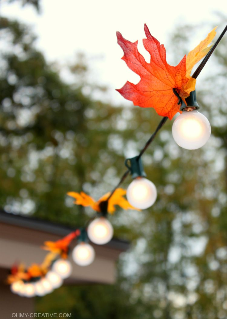 A string of patio lights with fall silk leaves attached.