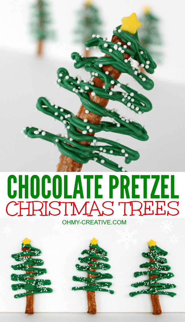These fun Chocolate Pretzel Christmas Trees are fun to make for any holiday party | OHMY-CREATIVE.COM | Chocolate Tree | Chocolate Pretzels | Chocolate Covered Pretzels | Pretzel Trees