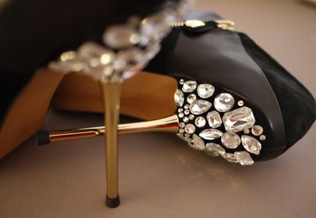 Diy jewel heeled shoes
