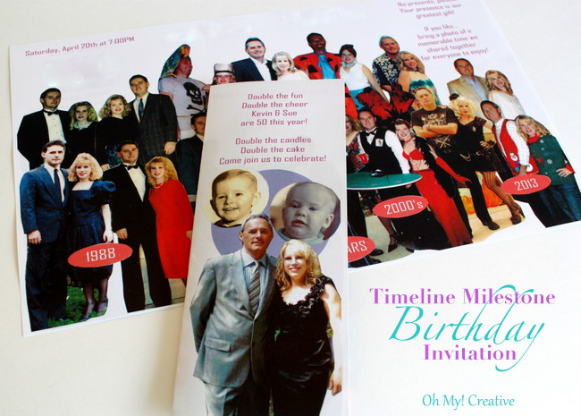DIY Photo Timeline Milestone Birthday Invitations For 30th 40th 50th 60th Birthdays