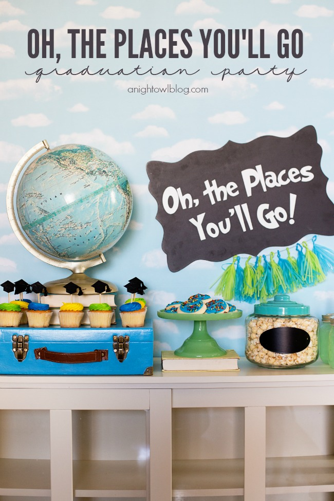 Oh, the places you'll go high school graduation party theme with globe and suitcase table decorations