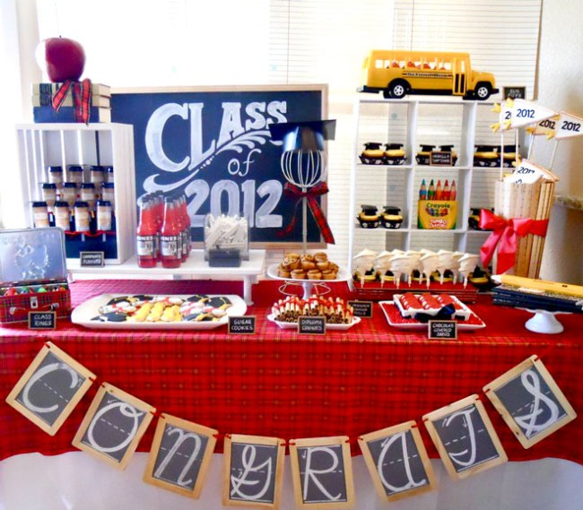 graduation party theme and dessert table