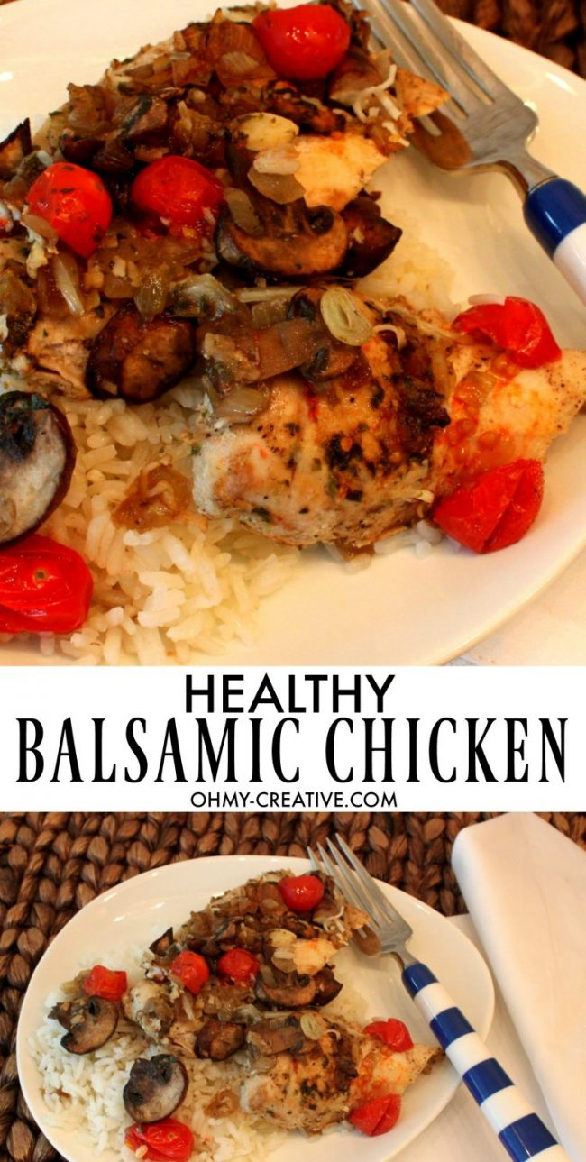 Healthy Balsamic Chicken with tomatoes & mushrooms - a delicious easy dinner recipe. OHMY-CREATIVE.COM | Chicken Recipe | Low Calorie | Casserole | Low fat | Gluten-free | weight watchers | Mushrooms | Tomatoes | Low Carb #weightwatchers #weightwatchersrecipe #lowcarb #healthyrecipe #chickenrecipe