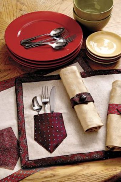 Necktie Place Mats and Napkin Rings