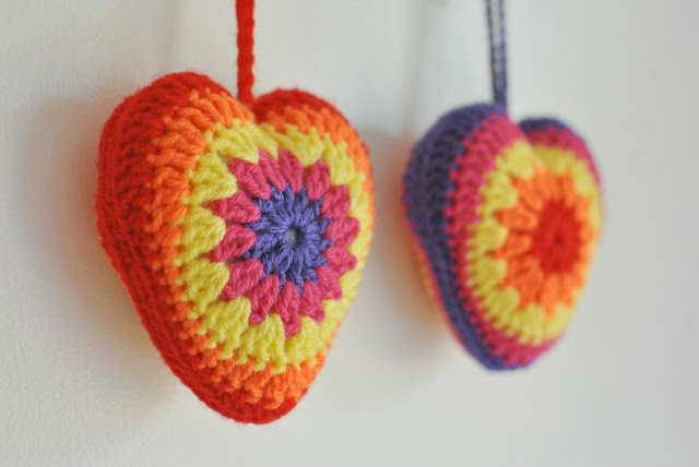 Padded crocheted hanging hearts