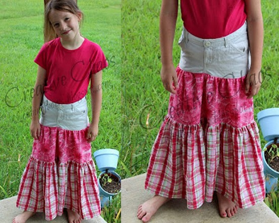 sew a Refashioned Grils Skirt