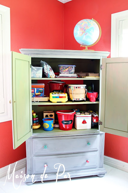 Upcycle gray armoire toy storeage