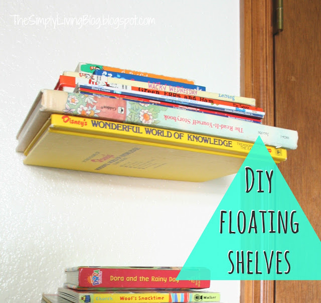 diy childrens floating shelfs