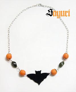 pumpkin and bat necklace