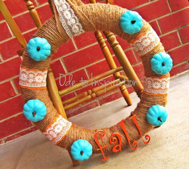 Jute Lace Turquoise Orange Fall Wreath