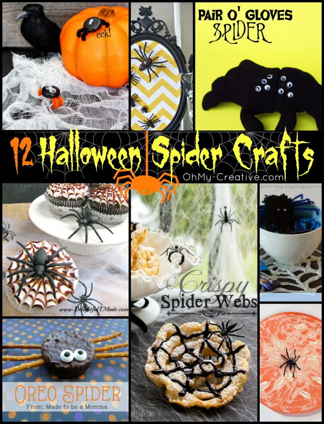More than 12 Halloween Spider Craft Ideas - OhMy-Creative.com | Spider Crafts for Preschool | Halloween Spider Craft recipes | Halloween crafts | #spidercraftideas #halloweencrafts #preschoolcrafts #spiders #spidercrafts #kidscrafts