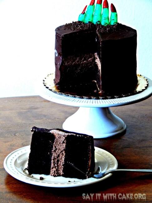 Zombie Finger Chocolate Ganache Cake