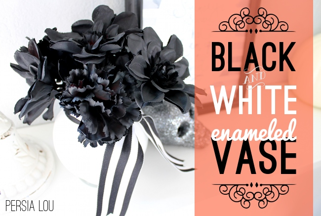 Halloween Black & White Enameled Vase from Dollar Store Items - OhMy-Creative.com