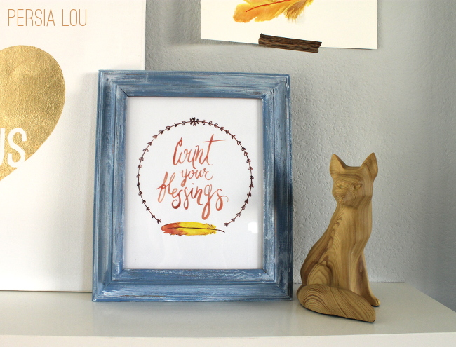 Free Count Your Blessings Watercolor Printable! Print out on the computer and add to a picture frame. Great Thanksgiving decor!