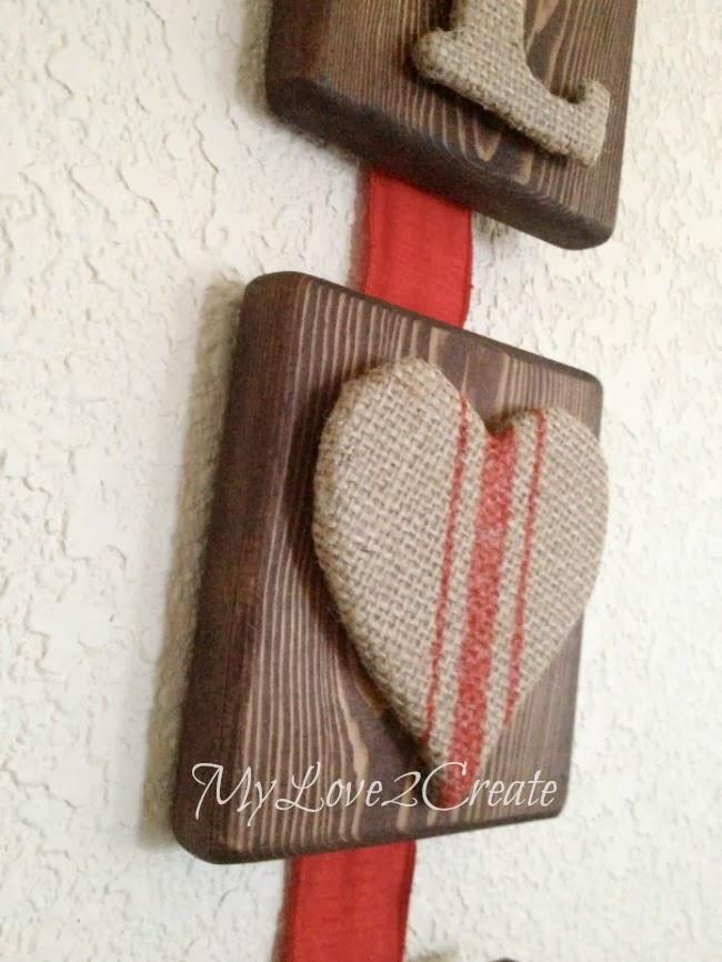 Burlap Letter Wooden Sign For Valentine's Day