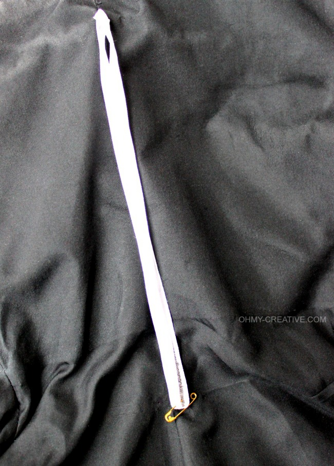 An easy Clothing Strap Hack, without cutting them off, so they can be used to hang the garment later! | OHMY-CREATIVE.COM  |  clothing hanger strap | formalwear | Prom | Wedding