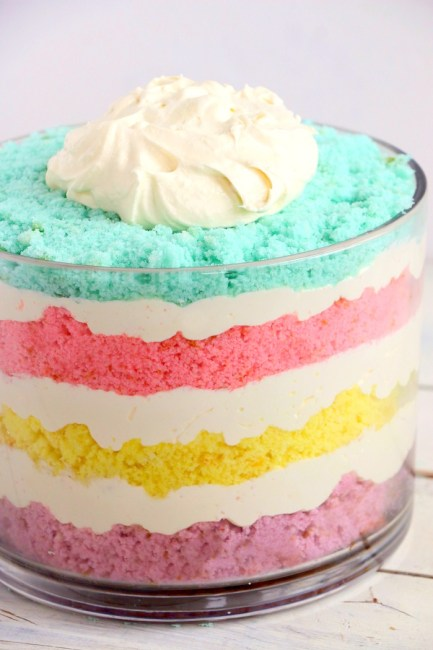 Colorful layered dessert featuring pastel colored cake mixes and whipped topping
