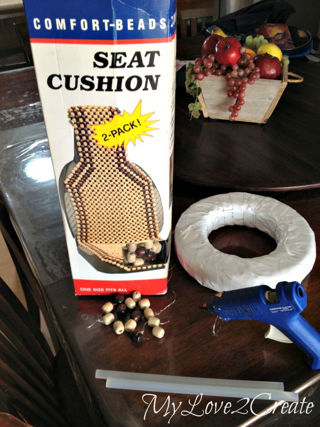 Repurpose beads for wreath