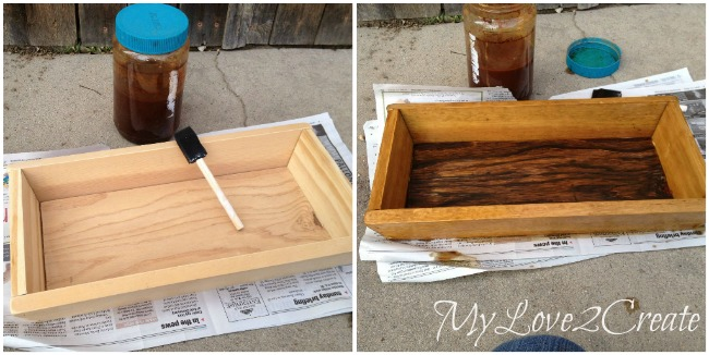Staining tray with vinegar and steel wool treatment