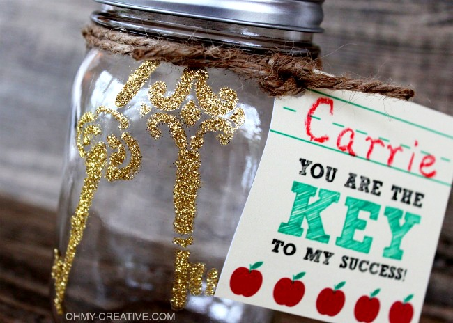 """You are the KEY to my success"" Teacher Appreciation Gift with Printable Tag 