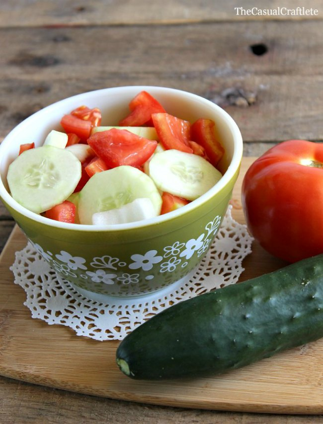Cucumber Tomato and Onion Salad The Casual Craftlete for OhMy-Creative.com