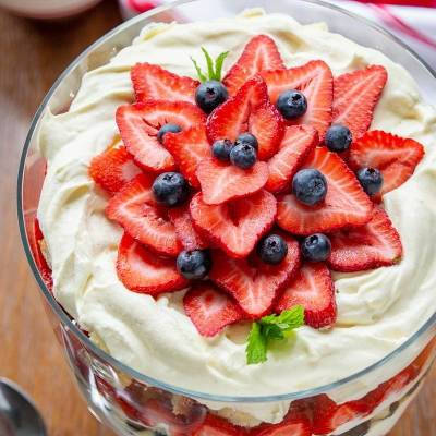 Strawberry and blueberries combined with vanilla custard layers