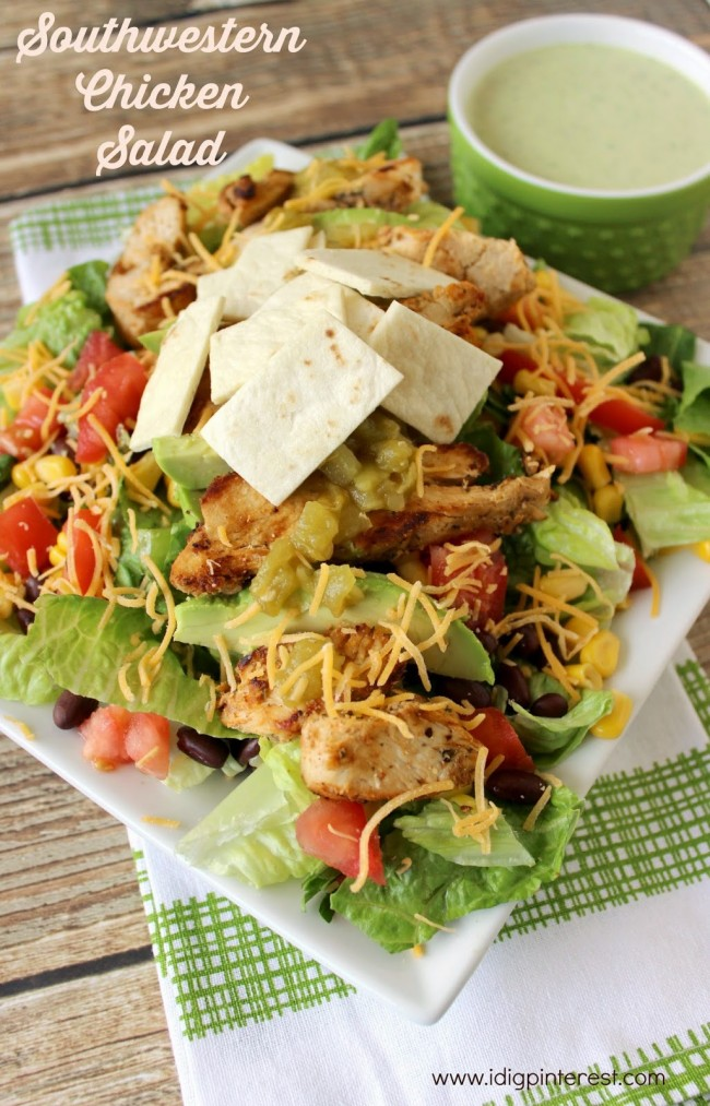 Southwestern Chicken Salad with Avocado Chipotle Dressing