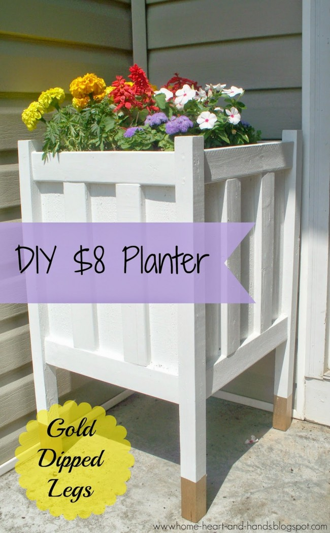 DIY Front Porch Planter With Gold Dipped Legs