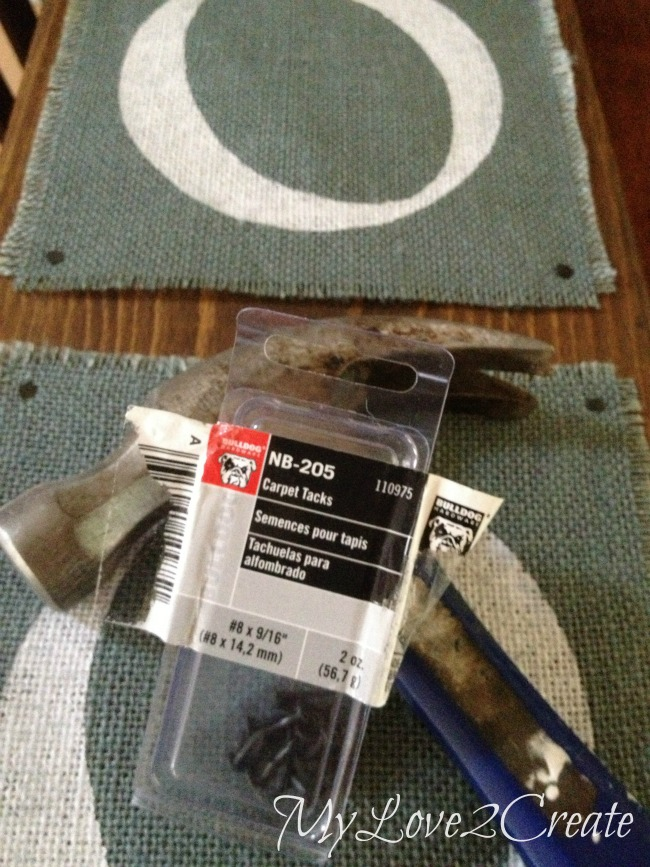 nailing burlap to wood with carpet tacks