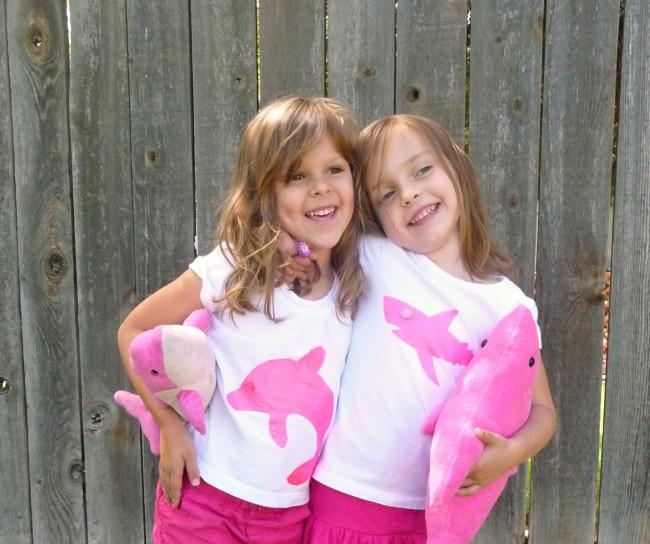 Girls Pink Shark Shirt