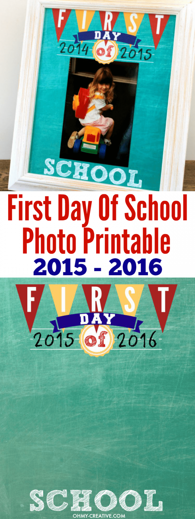 Display your kids First Day Of School Photos with this FREE Printable! Find school dates from 2014 - 2020. All years are available to print now! Can be added to a scrapbook after the school year is finished!   OHMY-CREATIVE.COM