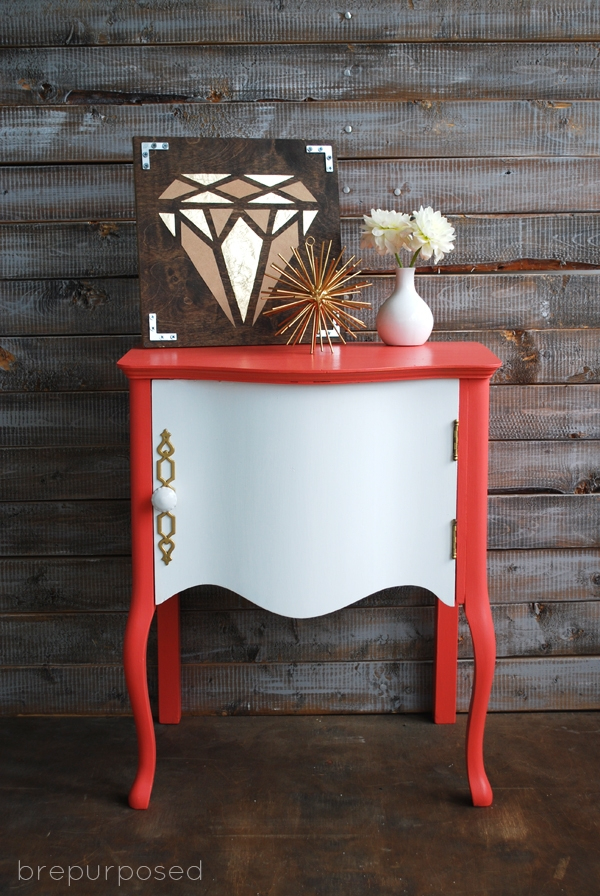 Coral Repainted Table using Country Chic Paint