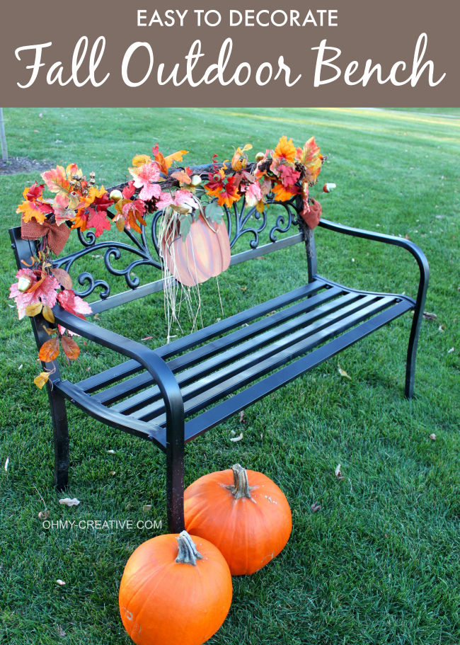 Use a pretty garland and metal pumpkin to create this easy to Decorate a Fall Outdoor Bench