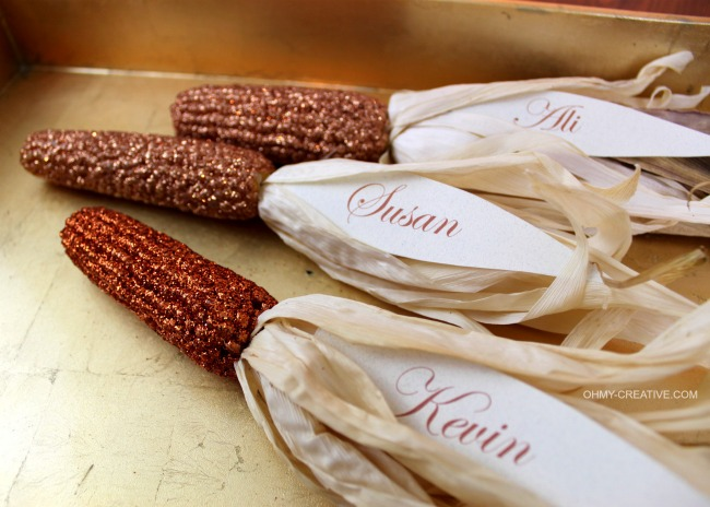 Indian Corn Thanksgiving Placecards | OHMY-CREATIVE.COM