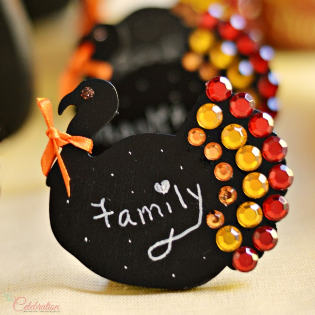 Jeweled Thanksgiving Turkey Chalkboard Place Cards